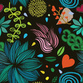Seamless colorful vector floral pattern on dark background Royalty Free Stock Photo