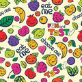 Seamless colorful vector pattern hand drawn berry and fruits Royalty Free Stock Photography