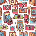 Seamless colorful vintage cameras