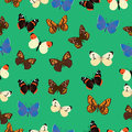 Seamless common butterfly pattern with azure background Royalty Free Stock Photo