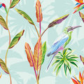 Seamless composition of tropical leaves flowers and bird green m