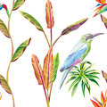 Seamless composition of tropical leaves flowers and bird white b