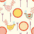 Seamless cooking pattern with plates Stock Photography