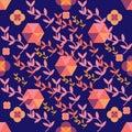 Seamless coral pattern on purple geometric