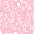 Seamless cosmetics icon illustration of cute hand drawn pattern Royalty Free Stock Photos