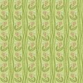 Seamless crooked wavy lines flower pattern with and flowers vector texture background Stock Photos
