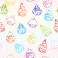 Seamless cupcake background retro sketchy Stock Image