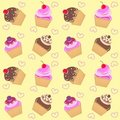 Seamless cupcake pattern Royalty Free Stock Photo