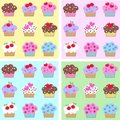 Seamless cupcake pattern Royalty Free Stock Photography