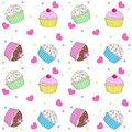 Seamless cupcake pattern Stock Photo