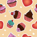 Seamless cupcake pattern. Hand drawn background. Stock Photography