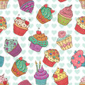 Seamless cupcakes pattern made of hand drawn Royalty Free Stock Photo