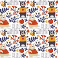 Seamless cute animal autumn pattern made with bear Royalty Free Stock Photo