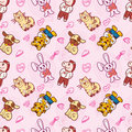 Seamless Cute Animal Pattern
