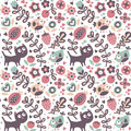 Seamless cute animal pattern made with cat, bird, flower, plant, leaf, berry, heart, friend, floral, nature