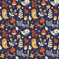 Seamless cute autumn pattern made with cat, bird, flower, plant, leaf, berry, heart, friend, floral, nature, acorn