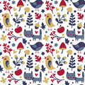 Seamless cute autumn pattern made with cat, bird, flower, plant, leaf, berry, heart, friend, floral, nature, acorn Royalty Free Stock Photo