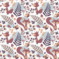Seamless cute autumn pattern made with fox, bird, flower, plant, leaf, berry, heart, friend floral nature acorn Rowan Royalty Free Stock Photo