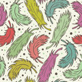 Seamless cute background with plumes decorative romantic pattern with feathers endless retro fabric texture Royalty Free Stock Photos