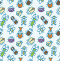 Seamless cute bug pattern Royalty Free Stock Images