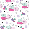 Seamless Cute Bug Pattern Vect...