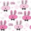 Seamless cute bunny love pattern vector illustration