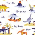 Seamless cute cartoon dinosaurs pattern. baby dino background texture. Backdrop for textile, fabric, wallpaper print