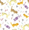Seamless pattern with funny cute colorful cats.
