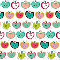 Seamless cute colorful retro apple pattern Royalty Free Stock Photos