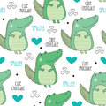Seamless cute crocodile pattern vector illustration