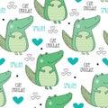 Seamless cute crocodile pattern vector illustration