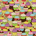 Seamless cute delicious cupcake doodle pattern. It includes yummy deserts with icing, cherry, strawberry, cream