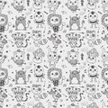 Seamless cute doodle monster pattern background cartoon vector illustration Stock Photo