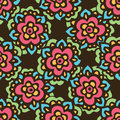 Seamless cute doodle Vector flower pattern Royalty Free Stock Photo