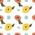 Seamless cute floral vector pattern background. Flower pattern on white background, doodle style, wrapping papper spring