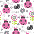 Seamless cute and flower ladybird pattern vector illustration Royalty Free Stock Photo