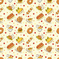 Seamless cute food pattern Stock Photo