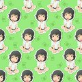 Cute girl character is sitting in pattern style.