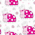 Seamless Cute Ladybird Pattern...