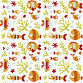 Seamless cute marine pattern with fish, seaweed, coral, starfish, seabed, algae, bubble Royalty Free Stock Photo