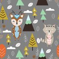 Seamless pattern with deer and raccoon in forest Scandinavian style - vector illustration, eps