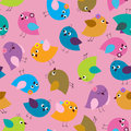 Seamless cute pattern with different colored birds