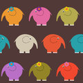 Seamless cute pattern with different colored elephants