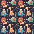Seamless cute pattern elephants, lion,giraffe, birds, plants, jungle, flowers, hearts, leafs Royalty Free Stock Photo