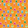 Seamless cute pattern with little cartoon monsters