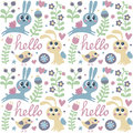 Seamless cute pattern made with rabbit, hare, bird, flowers, animals, plants, hearts, love, hello, berry, Valentine Royalty Free Stock Photo