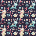 Seamless cute pattern made with rabbit, hare, flowers, animals, plants, hearts, love, hello, berry, Valentines day Royalty Free Stock Photo
