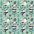 Seamless cute pattern with Panda and bamboo, plants, jungle, bird, berry, flowers Royalty Free Stock Photo