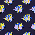 Seamless cute pattern with tropical fish Royalty Free Stock Photo