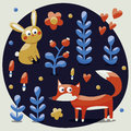 Seamless cute set made with fox, rabbit, hare, flowers, animals, plants, hearts for kids